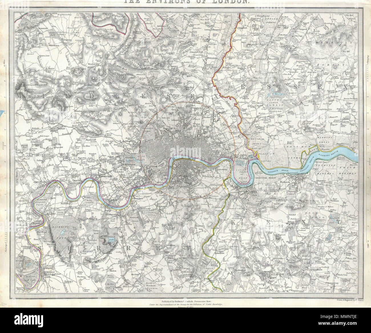 English A Difficult To Find Map Of The Vicinity Of London England