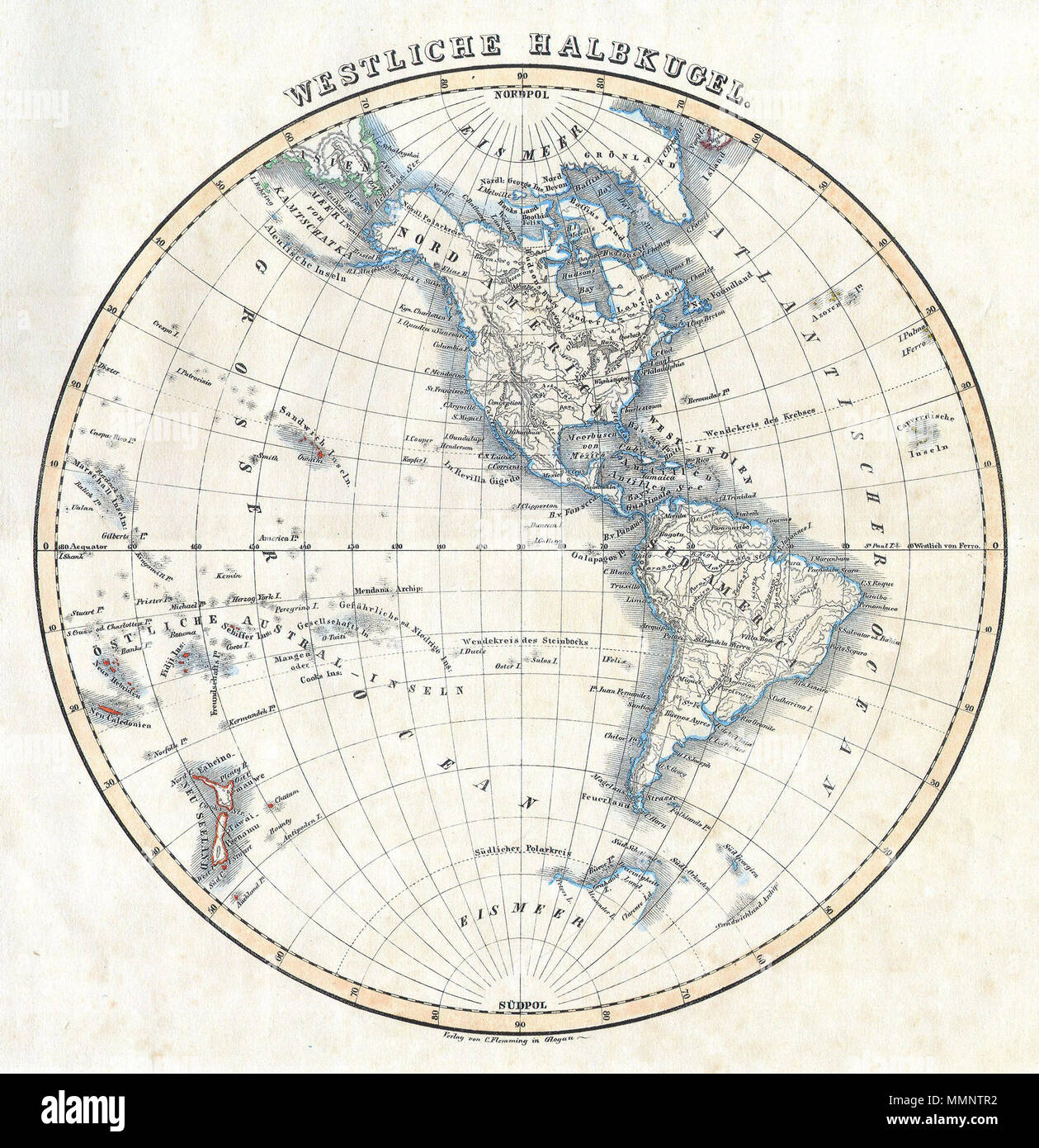 33edf020f3 English  This attractive hand colored map depicts the Western Hemisphere  including North America and .