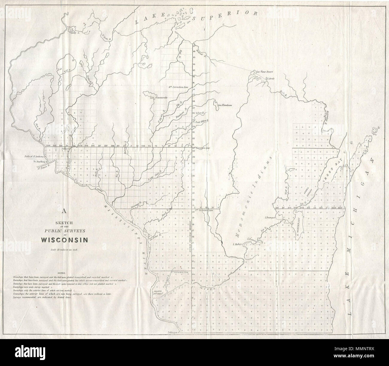 english this magnificent map of wisconsin was issued in 1848 for the us land survey office it is officially entitled a sketch of the public surveys