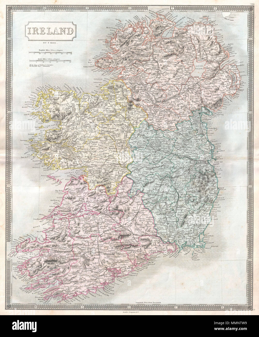 Full Map Of Ireland.English A Beautiful Example Of Sidney Hall S C 1850 Map Of Ireland