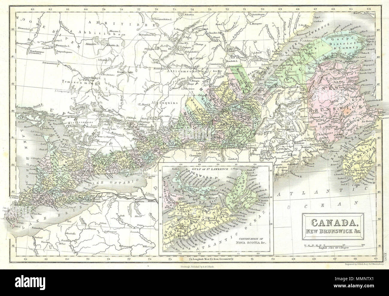 Map Of Eastern Canada Colors English: This is a fascinating 1851 hand colored map of Eastern