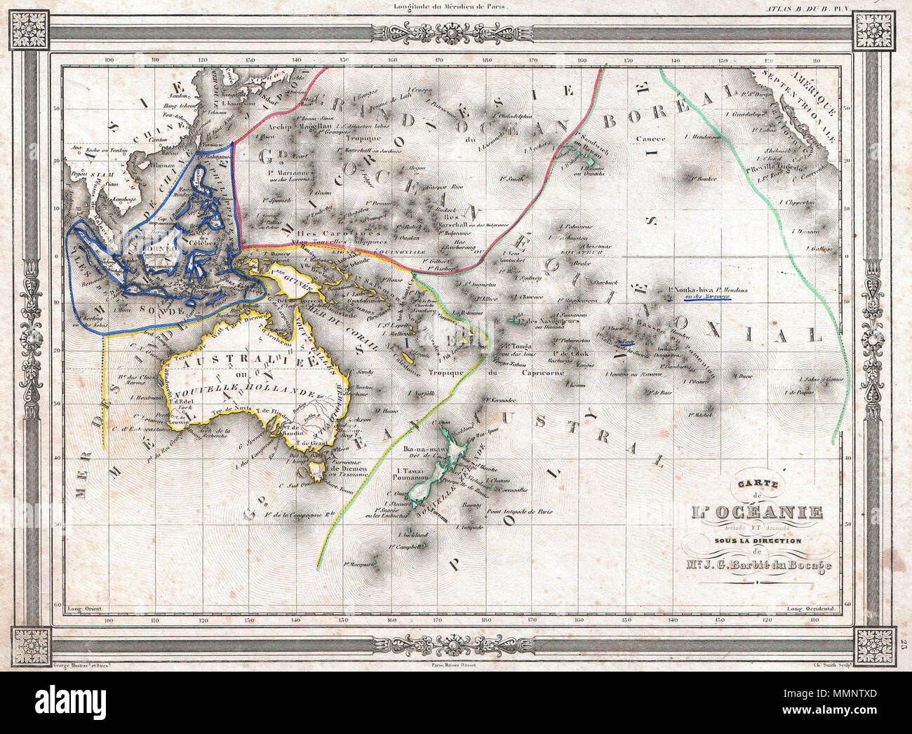 English: An uncommon and extremely attractive 1852 map of Oceania by on