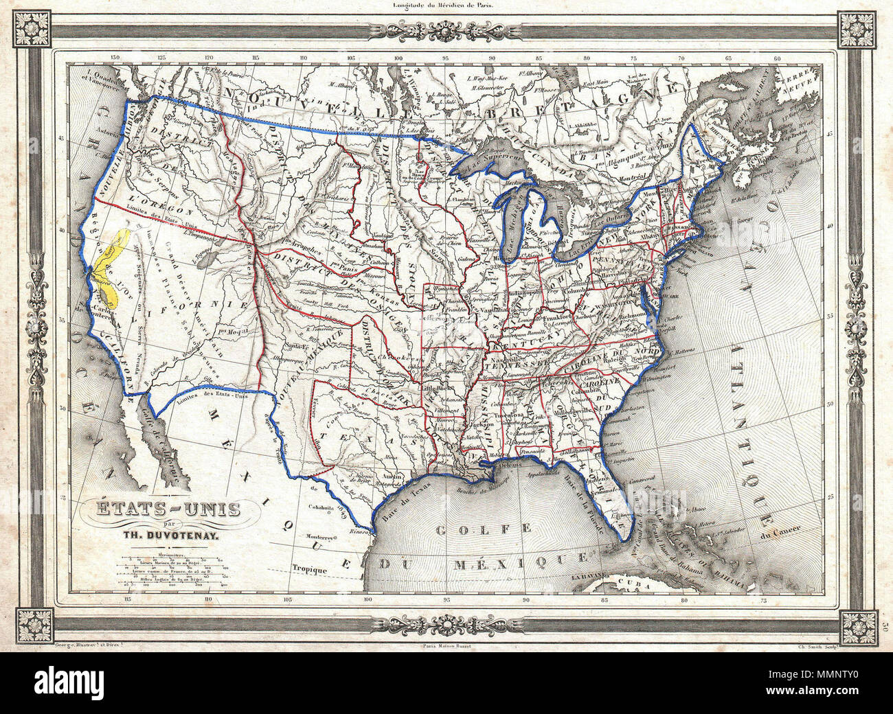 Map Of California During Gold Rush.English An Uncommon And Extremely Attractive 1852 Map Of The United