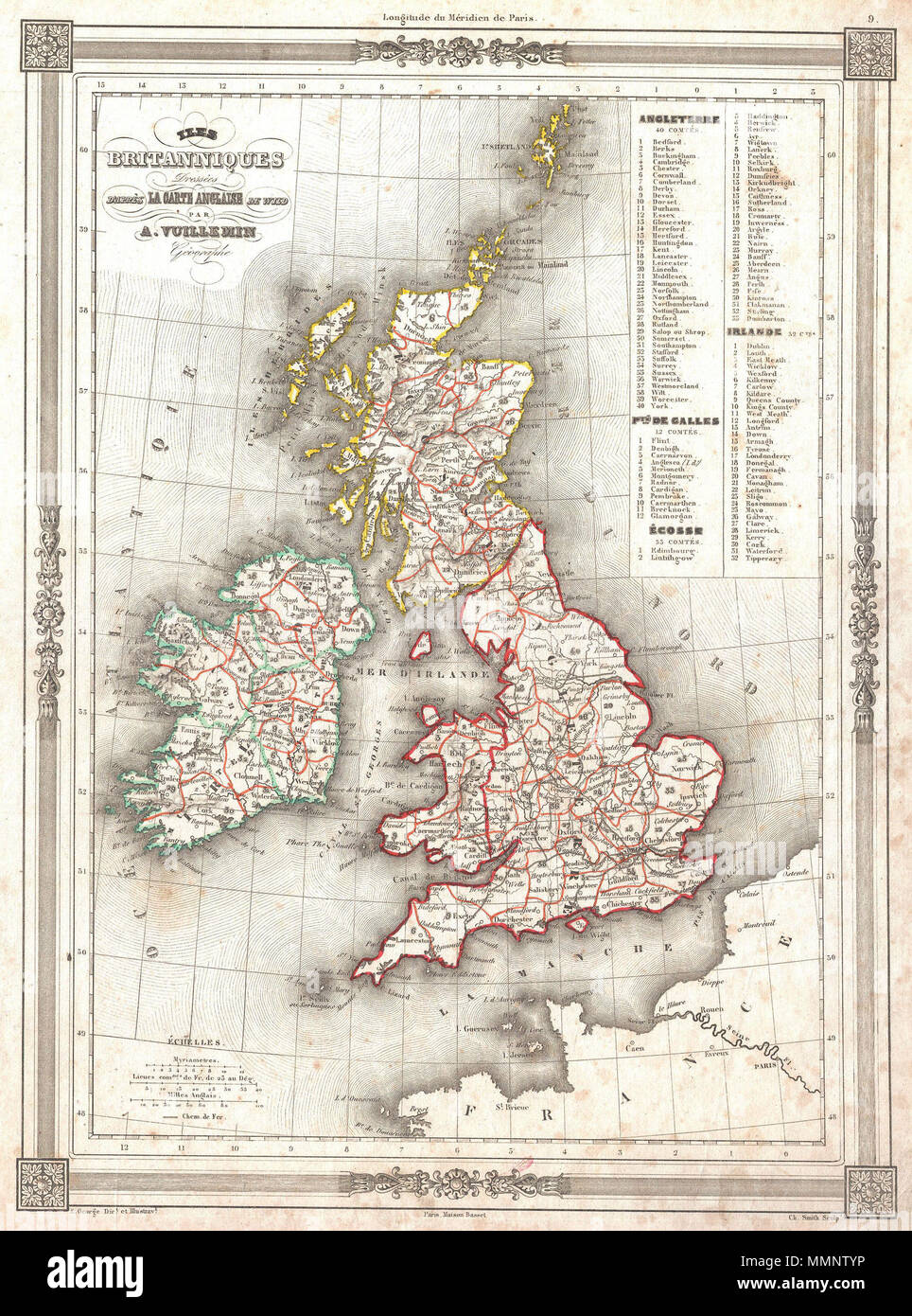 Map Of France England And Scotland.English An Uncommon And Attractive 1852 Map Of The British Isles By