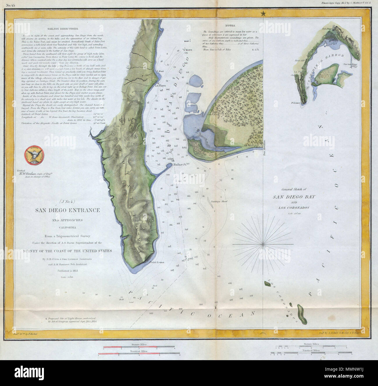 English: A fine early U.S. Coast Survey chart or map of San Diego ...