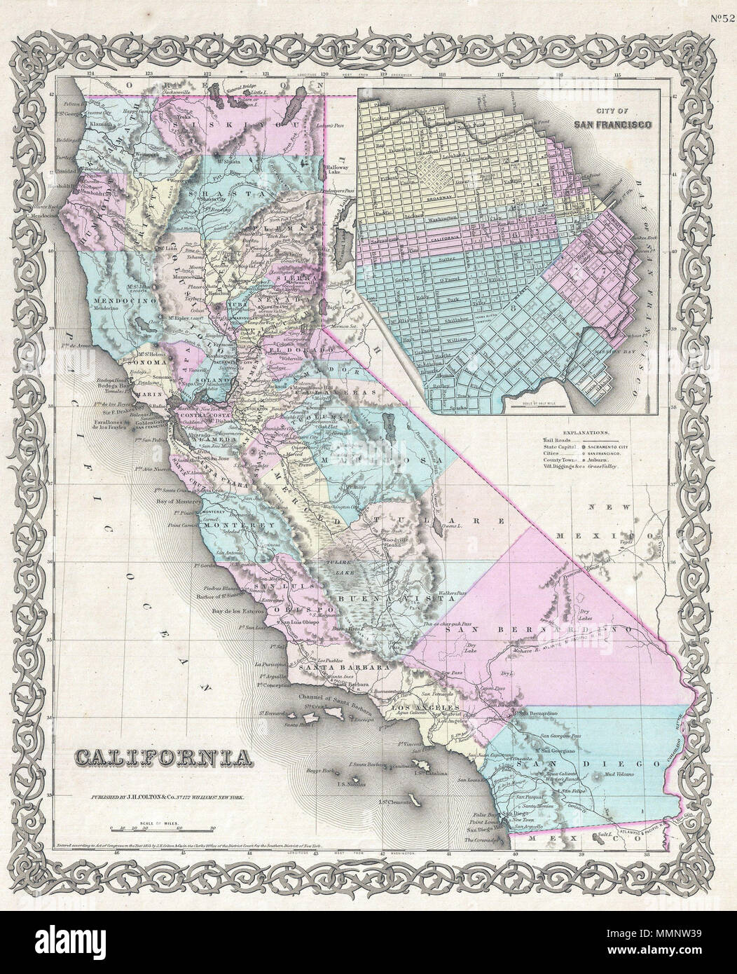 .  English: Issued roughly six years after the 1849 California Gold Rush, this is a beautiful 1855 first edition first state example of Colton's map of California. Colton's California with its San Francisco inset is one of the rarest and most desirable of all Colton atlas maps as it beautifully illustrates the rapid development throughout the state that followed in the wake of the Sutter's Mill discovery. Like most of Colton's state maps, this map was derived from an earlier wall map of North America produced by Colton and D. Griffing Johnson. Covers the entire state of California with a large - Stock Image