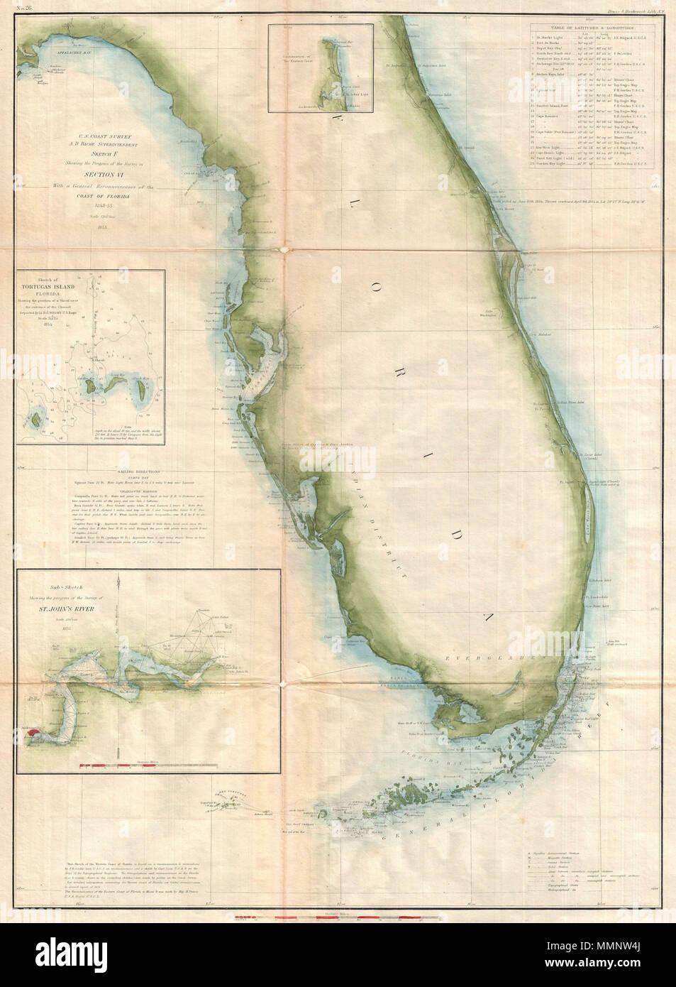 Map Of Florida Coast Line.English A Beautiful Example Of The U S Coast Survey S 1855