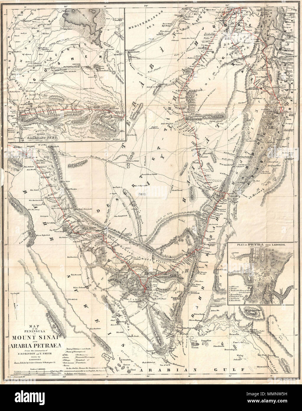 English: An uncommon map of the Sinai Peninsula by the classical