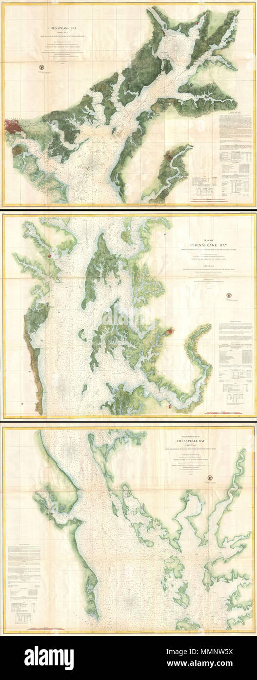 .  English: This is a monumental and rarely available three part 1857 nautical chart or maritime map of the Chesapeake Bay. Prepared for the 1857 edition of the U.S. Coast Survey's Superintendent's Report this giant map covers from the top of the Chesapeake Bay and the mouth of the Susquehanna River to the mouth of the Potomac River. The top or first chart covers from the head of the Bay to the Mouth of the Magothy River, inclusive of the Patapsco River and the city of Baltimore – which is detailed to the street level. The second or middle chart covers from the Magothy River to the mouth of th - Stock Image