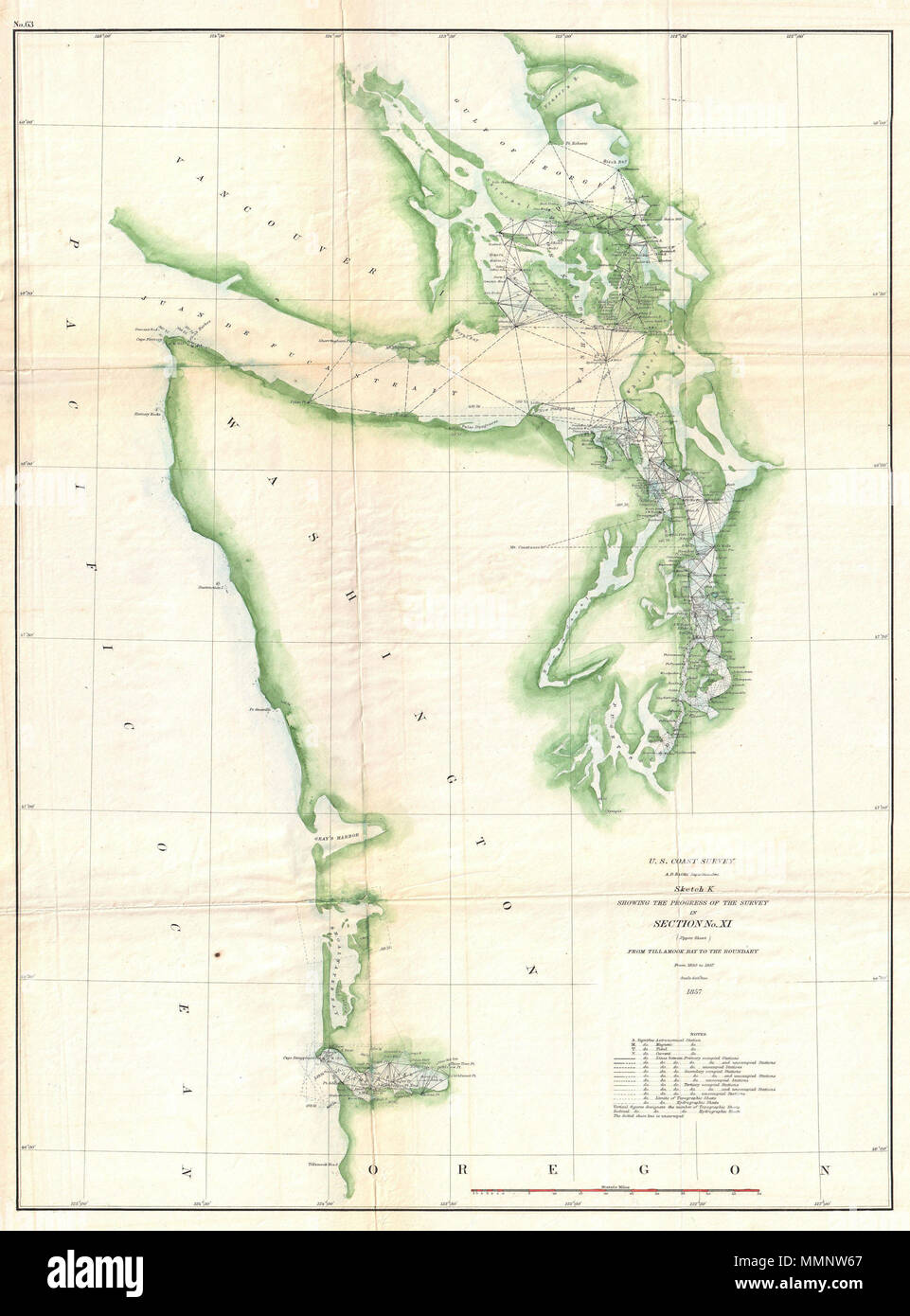 English An Uncommon Us Coast Survey Map And Triangulation Chart - Columbia-river-map-us