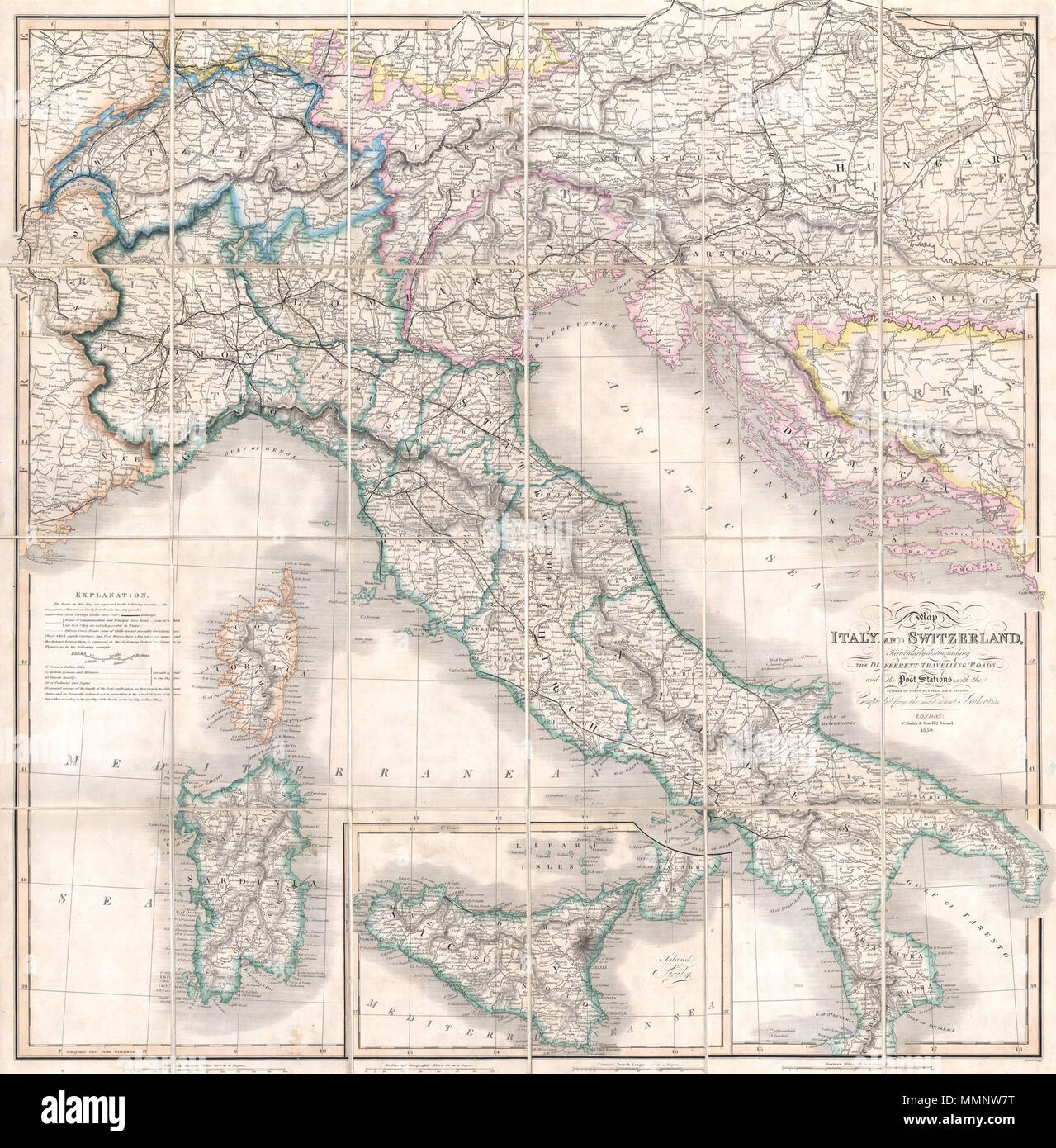 Basic Map Of Italy.English A Rare And Beautiful Case Format Map Of Italy And