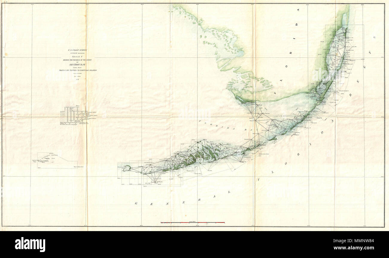 U S Coast Survey Map Of Key Biscayne Bay Stock Photos U S Coast