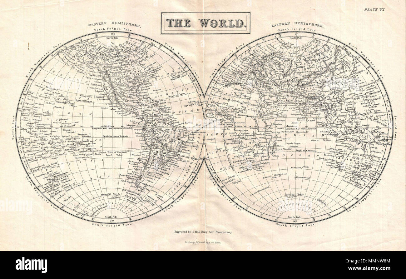 map of the world in hemispheres divided into the western hemisphere and eastern hemisphere this map shows and labels islands continents major cities