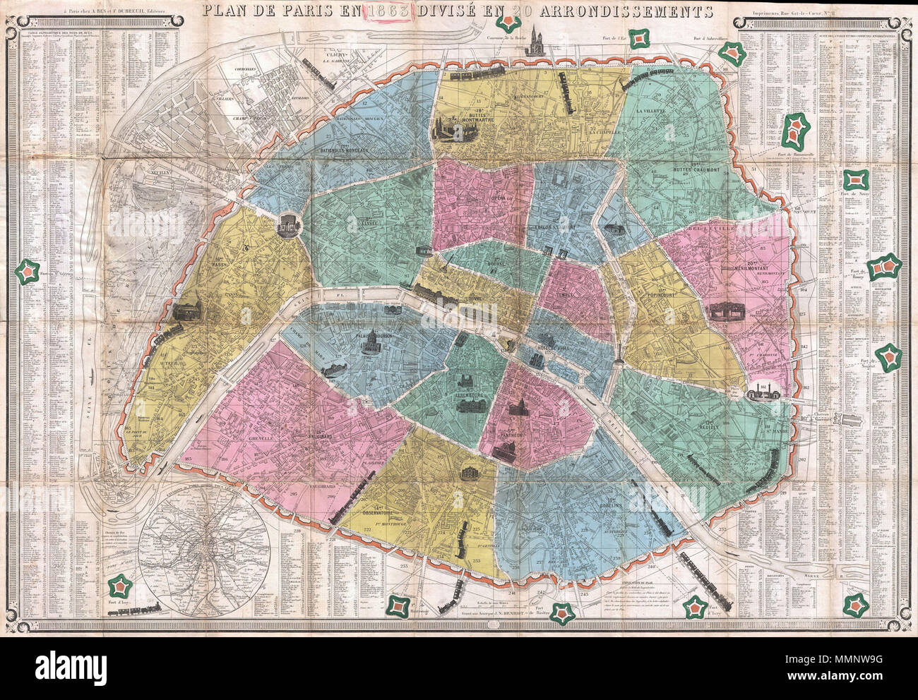 Labeled Map Of France.English This Is An Extremely Attractive 1863 Tourist Pocket Map Of