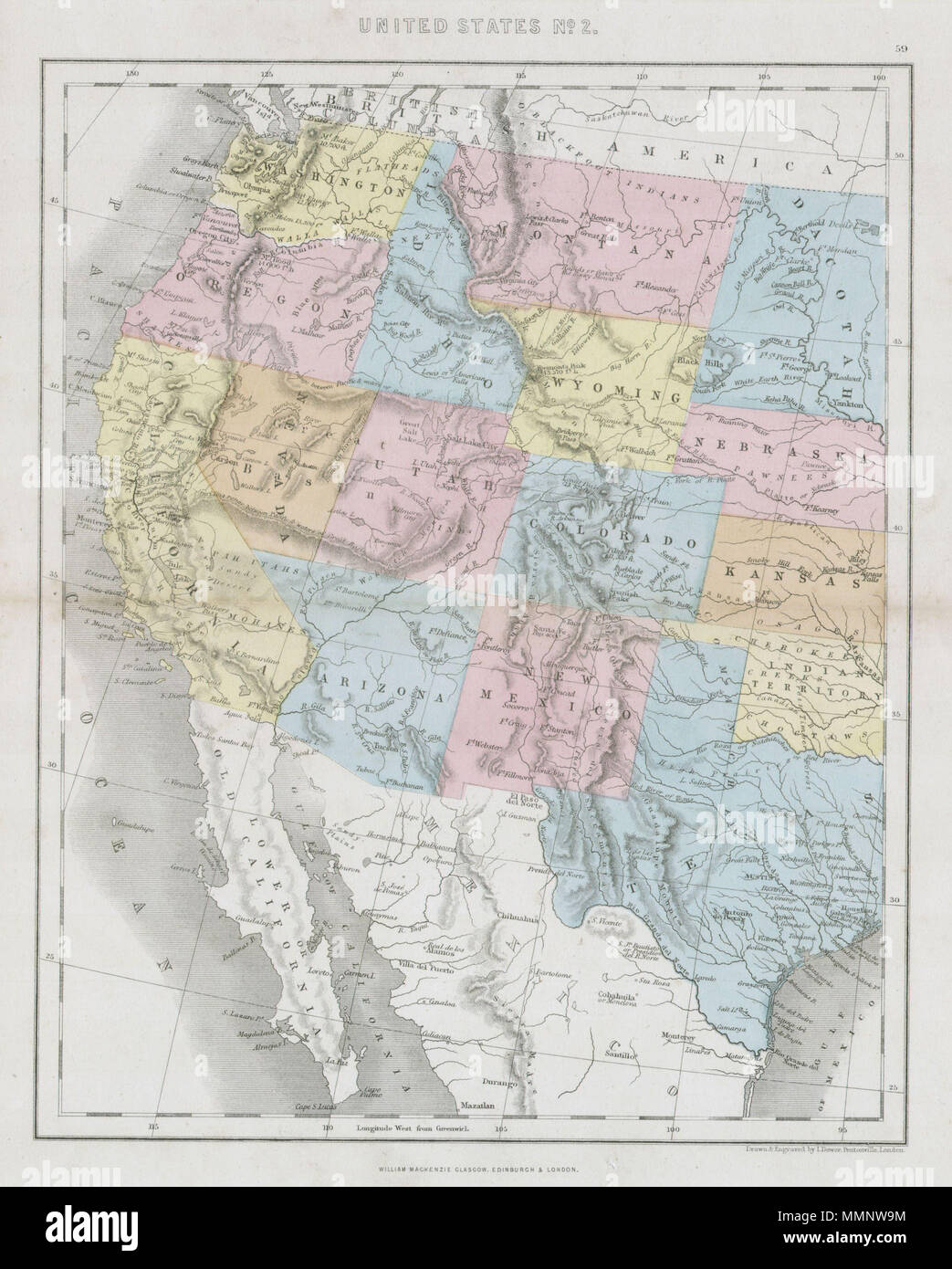 Map Of California And Arizona With Cities.English This Hand Colored Map Depicts The Western Half Of The