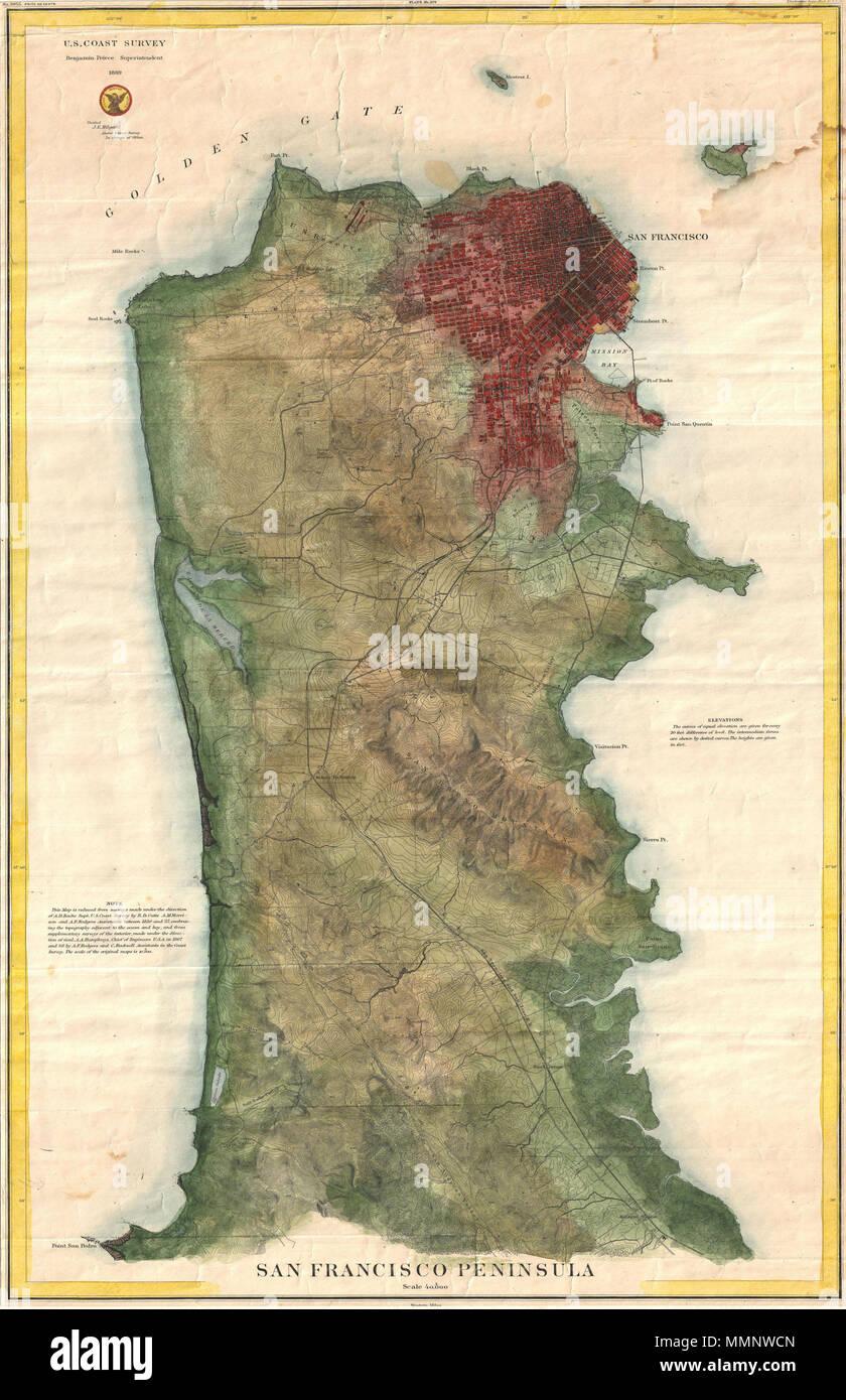 English: A rare 1869 U.S. Coast Survey chart or map of San ...