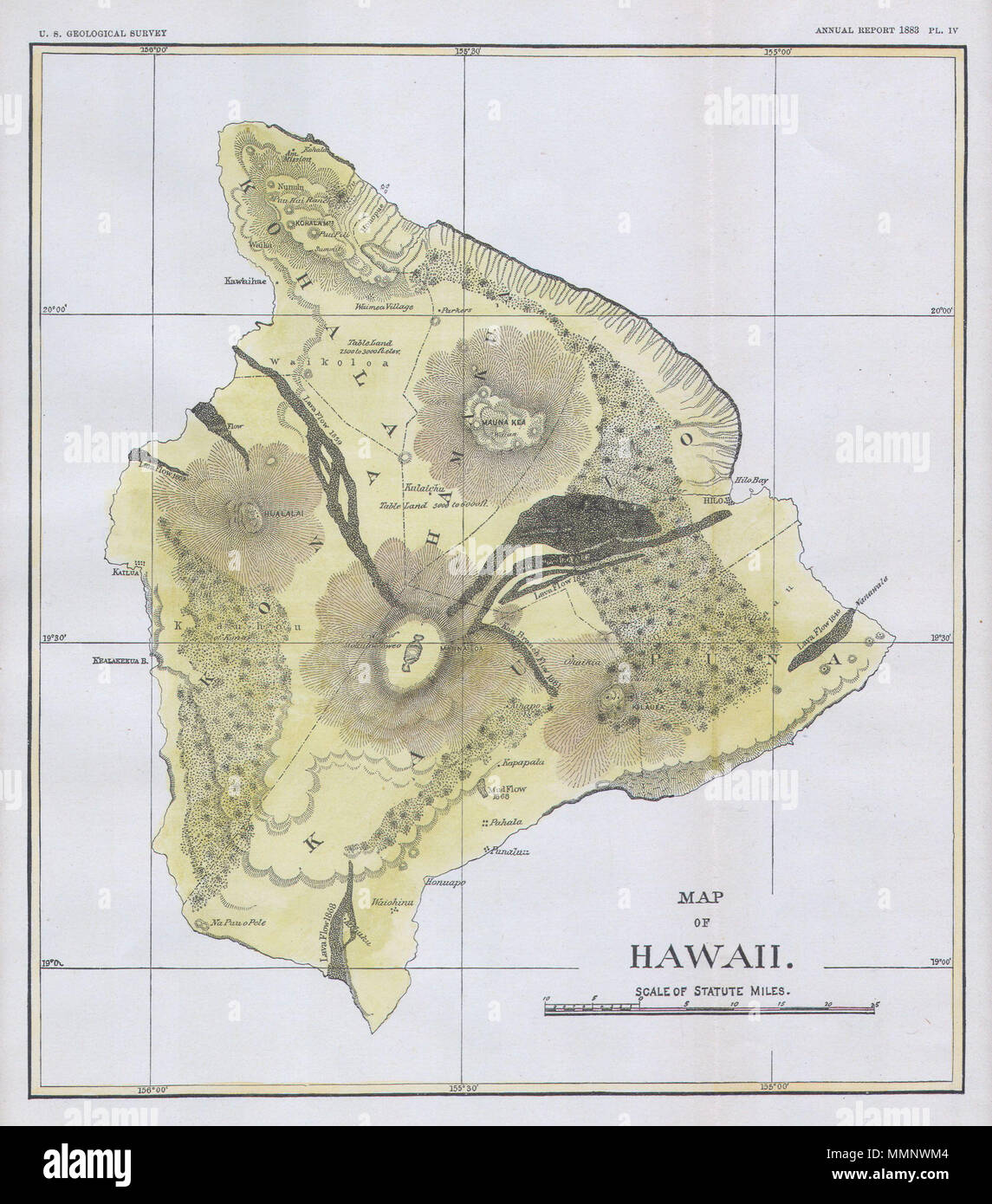 English This Beautiful And Fascinating Map Of The Island Of Hawaii - Us-geologic-survey-maps