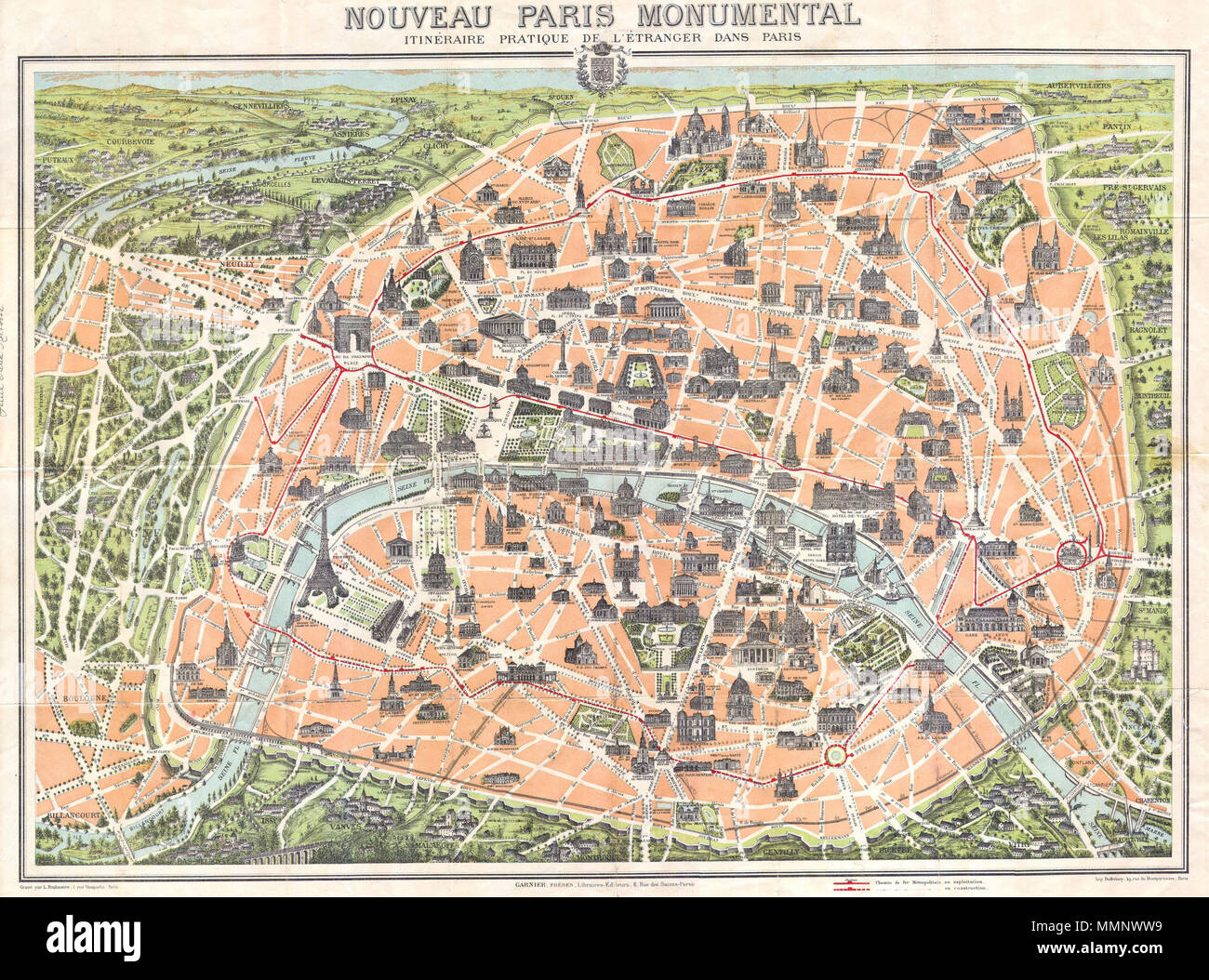 english this rare c 1900 pocket map of paris france combines the virtues of a map and a view covers the old walled city of paris and surrounding
