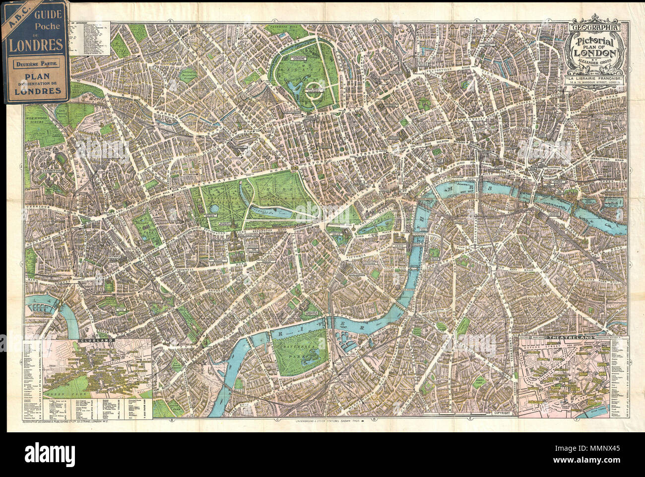 english this is a wonderful map of pocket map of london and published c 1924 by geographia ltd covers downtown london from the hammersmith bridge and