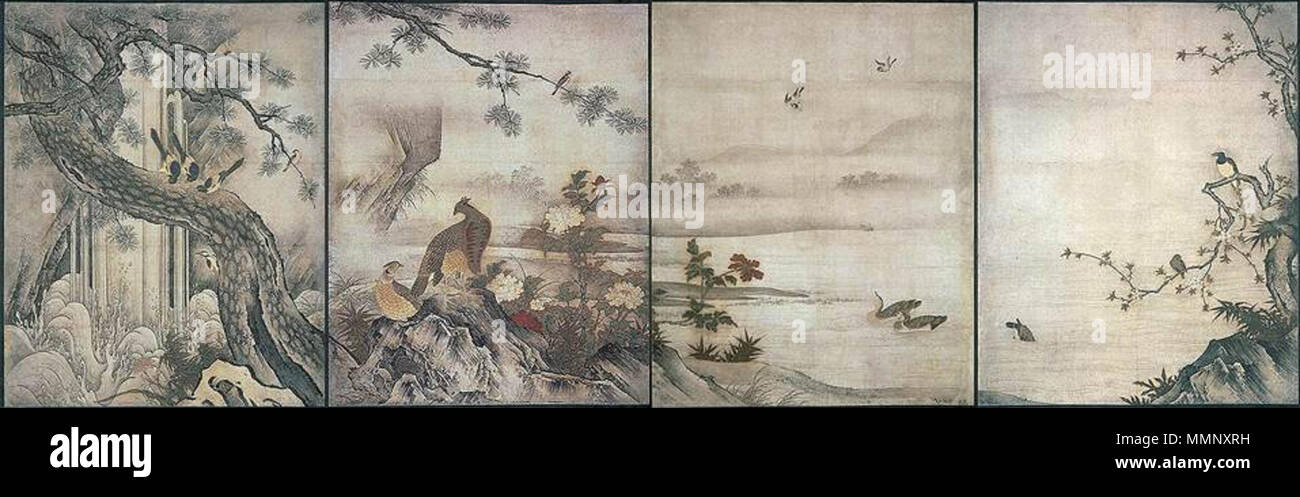 . Espa+?ol: Kan+? Motonobu: Flowers and Birds of the four seasons, 1513, 139x170 cm. Daisen-in, Daitoku-ji, Kyoto. Now in Kyoto National Museum  . 1513. Kan+ EITOKU-DAISENIN - Stock Image