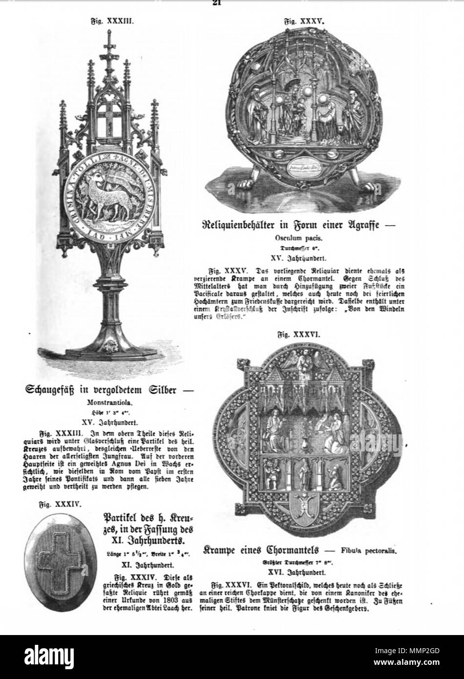 . English: Page from Das Heiligtum zu Aachen with woodcut illustrations of reliquaries in Aachen Cathedral Treasury, Germany. Four of 51 illustrations in Franz Bock's 1867 publication on the Aachen Cathedral treasures.  . 1867. unknow engraver Franz Bock, Das Heiligtum zu Aachen, Seite 21 - Stock Image