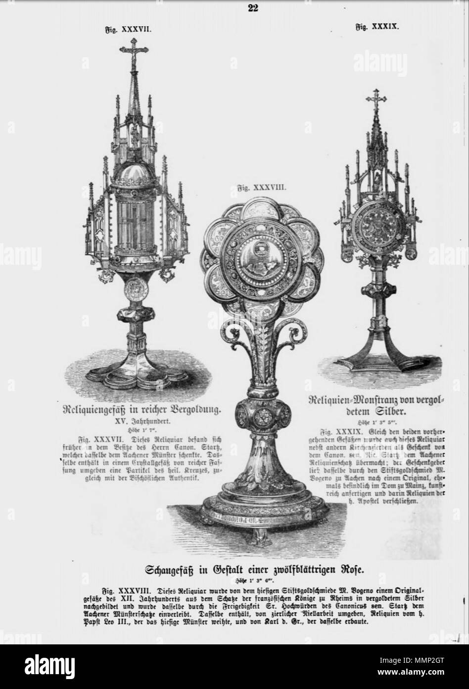 . English: Page from Das Heiligtum zu Aachen with woodcut illustrations of reliquaries in Aachen Cathedral Treasury, Germany. Three of 51 illustrations in Franz Bock's 1867 publication on the Aachen Cathedral treasures.  . 1867. unknow engraver Franz Bock, Das Heiligtum zu Aachen, Seite 22 - Stock Image