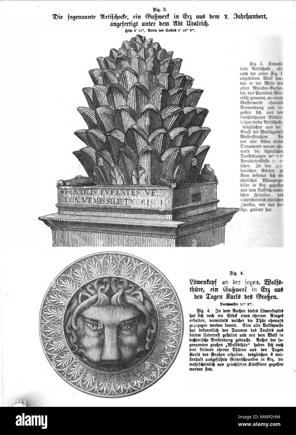 . English: Page from Das Heiligtum zu Aachen with woodcut illustrations of two sculptures in Aachen Cathedral, Germany. Two of 51 illustrations in Franz Bock's 1867 publication on the Aachen Cathedral treasures.  . 1867. unknow engraver Franz Bock, Das Heiligtum zu Aachen, Seite 24 - Stock Image