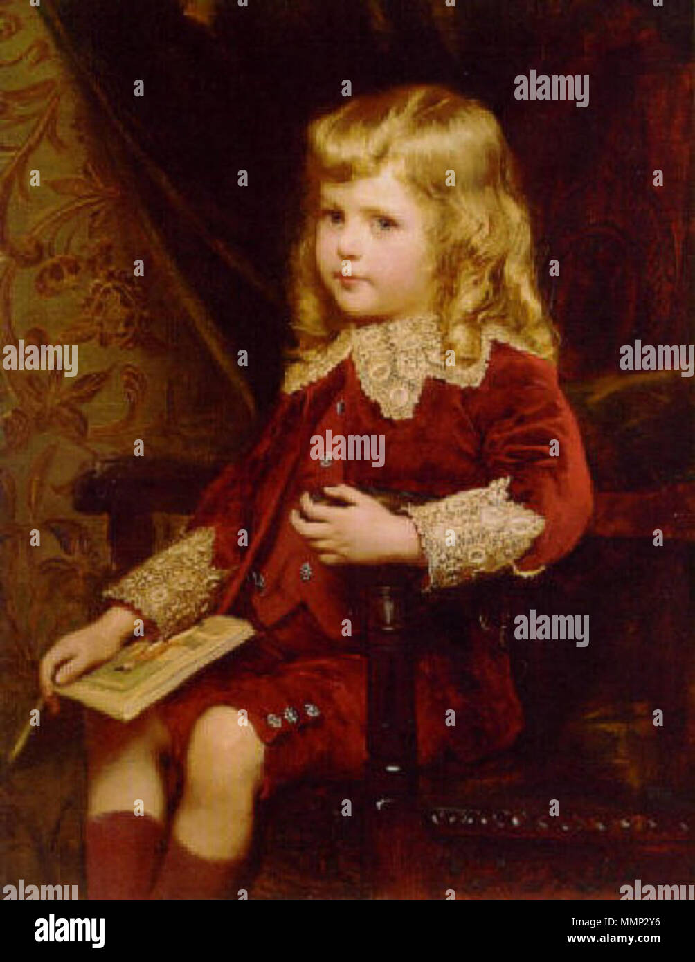 .  English: Portrait of a young boy in a red velvet suit  . Unknown date. 37 Alfred Edward Emslie03 Stock Photo