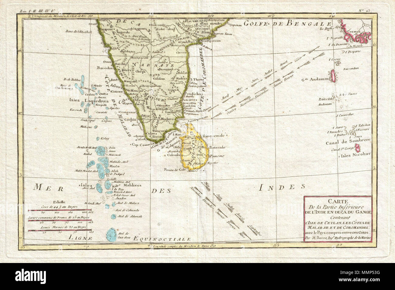 Carte Sri Lanka Maldives.English Attractive 1780 Map Of Southern India By The French