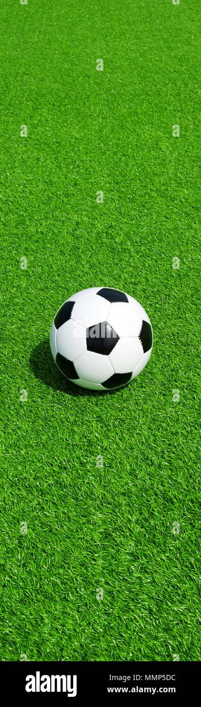 soccer ball on green ground, panel format,  football banner - Stock Image