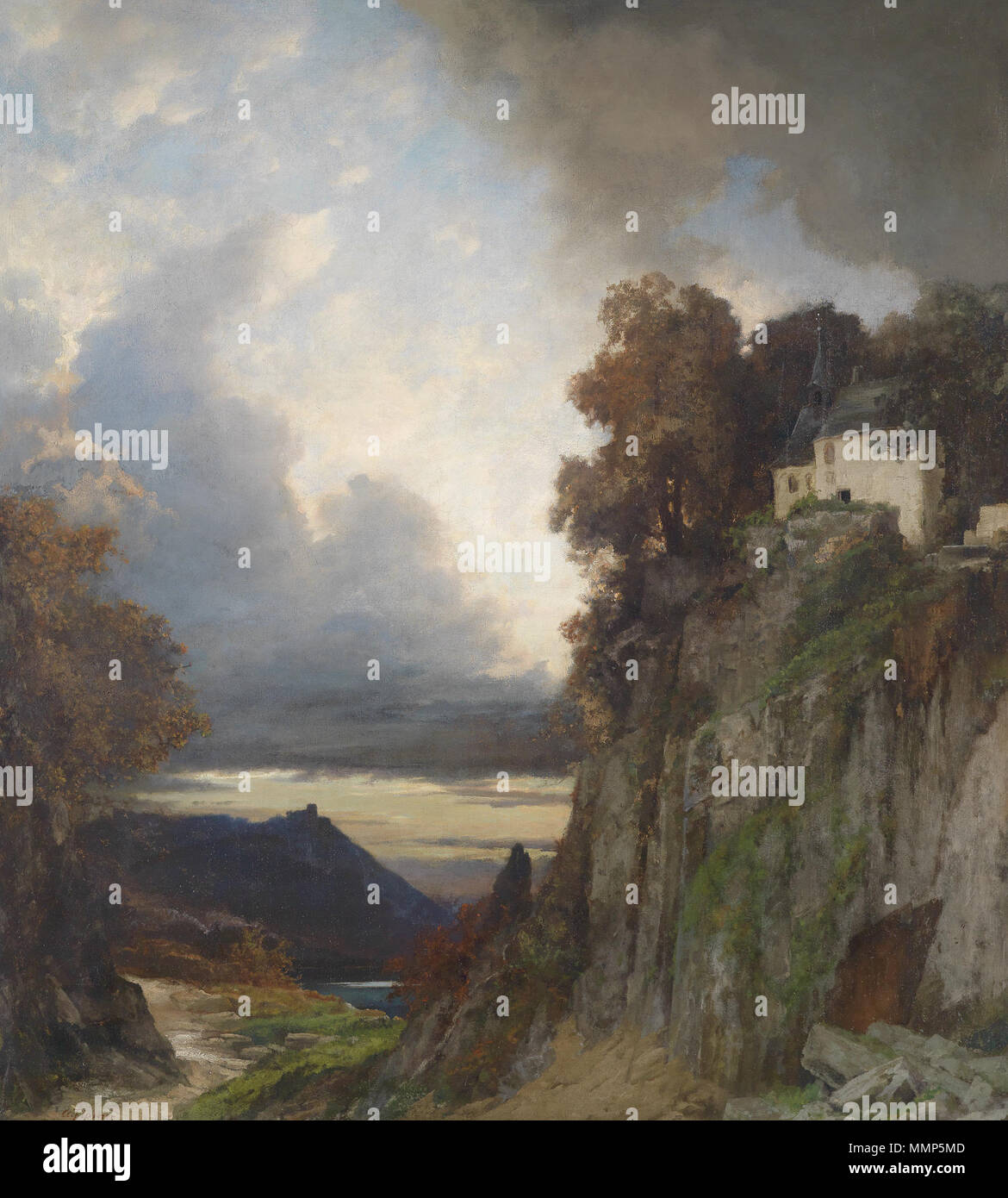 . German: Abendstimmung am Rhein (bei Koblenz)  . by 1906.   Albert Flamm  (1823–1906)     Alternative names a. flamm; professor a. flamm; albert flamm; Flamm; flamm albert  Description German painter  Date of birth/death 9 April 1823 28 March 1906  Location of birth/death Cologne Düsseldorf  Authority control  : Q878000 VIAF:?67220775 ULAN:?500007042 GND:?116588144 RKD:?28224 Albert Flamm Abendstimmung am Rhein (Koblenz) - Stock Image