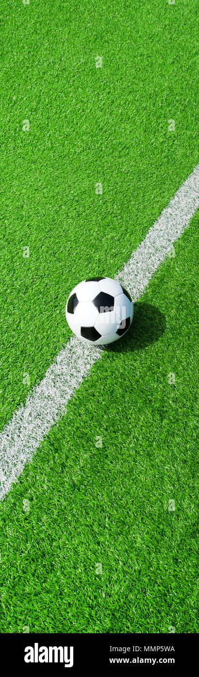 soccer ball on green ground, panoramic format, panel format on the middle line, football banner - Stock Image