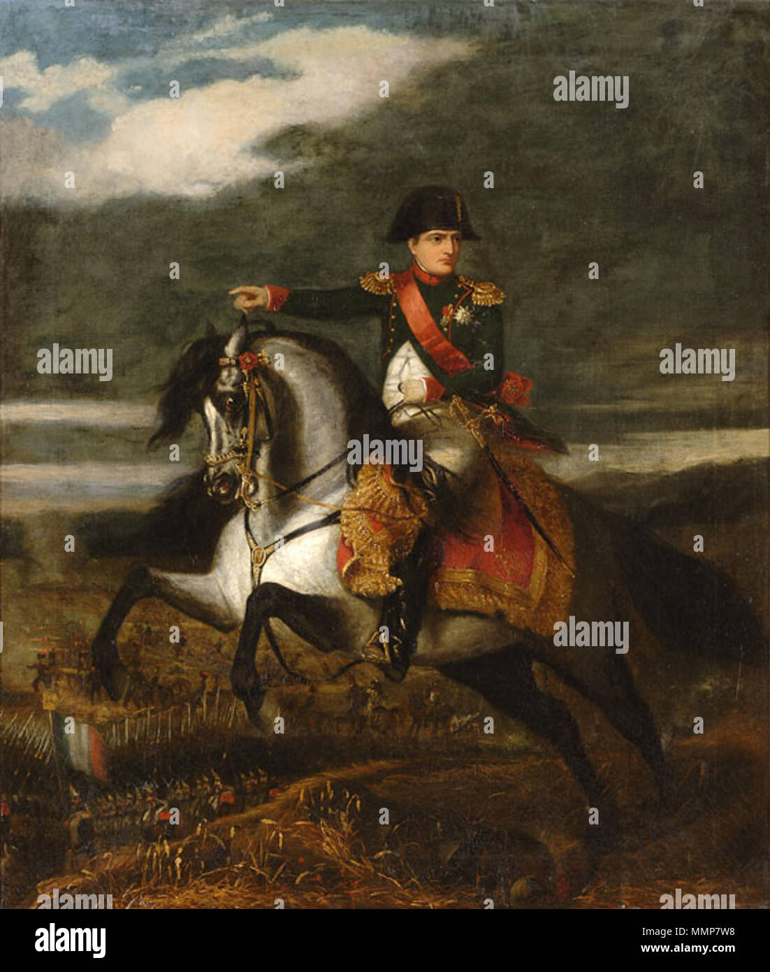 . in the background: Battle of Wagram  Napoleon on horseback. 1843. Alfred d'Orsay Napoleon Wagram 1843 - Stock Image