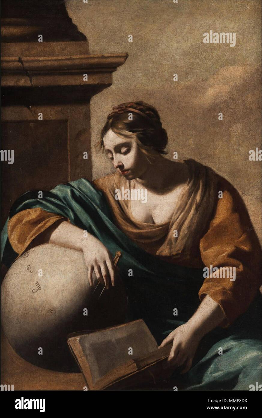 . German: Allegorische Darstellung der Astronomie (oder Astrologie?) (Frau mit Himmelsglobus)  . 17th century. Anonymous Allegorie17Jh 003 - Stock Image
