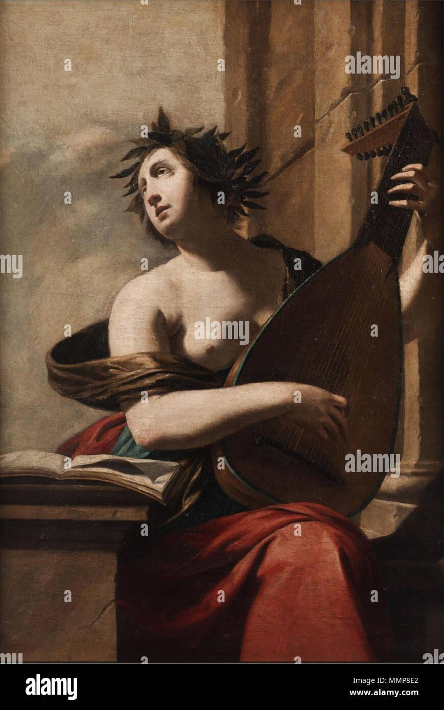 . German: Allegorische Darstellung der Musik, (Frau mit Laute)  . 17th century. Anonymous Allegorie17Jh 004 - Stock Image