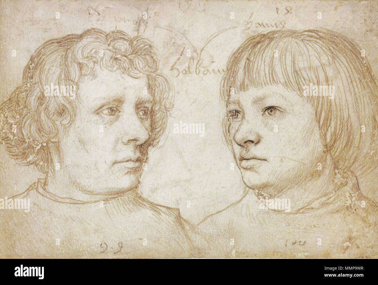 . English: Ambrosius and Hans Holbein. Silverpoint on white-coated paper, 10.3 × 15.5 cm, Berlin State Museums. The names 'Prosy' (left) and 'Hans' (right) are written over the heads of the boys. According to art historian Stephanie Buck: 'The hand-written notes make this silverpoint drawing one of the most personal documents of an artist's family of the early modern era. The sheet probably comes from a sketchbook in which various portraits were kept.' (Buck, p. 8.)  . 1511. Hans Holbein the Elder. Uploaded by qp10qp. Ambrosius and Hans Holbein, by Hans Holbein the Elder - Stock Image
