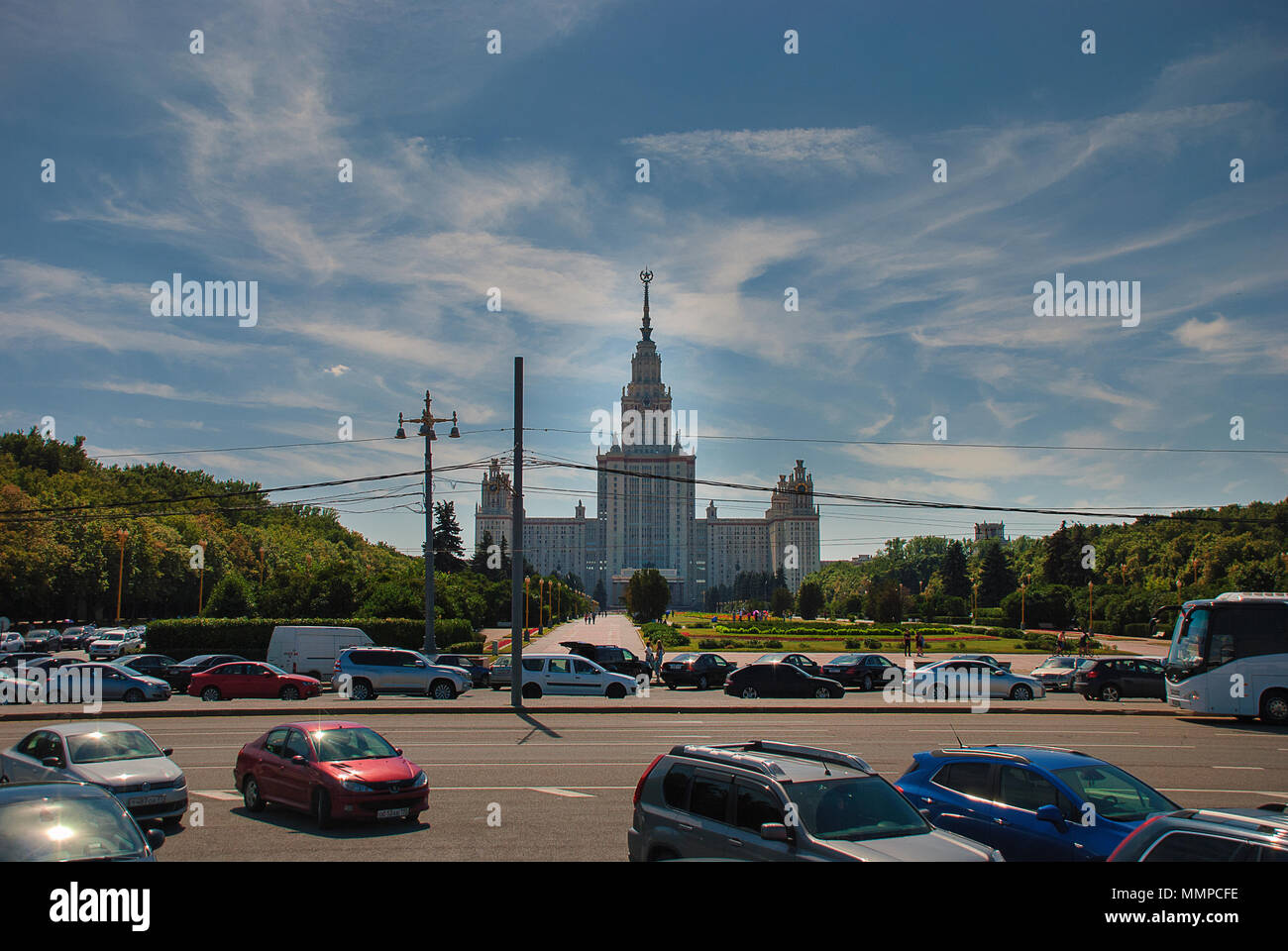 """Lomonosov Moscow State University, one of the """"Seven Sisters"""" in Moscow, Russia Stock Photo"""