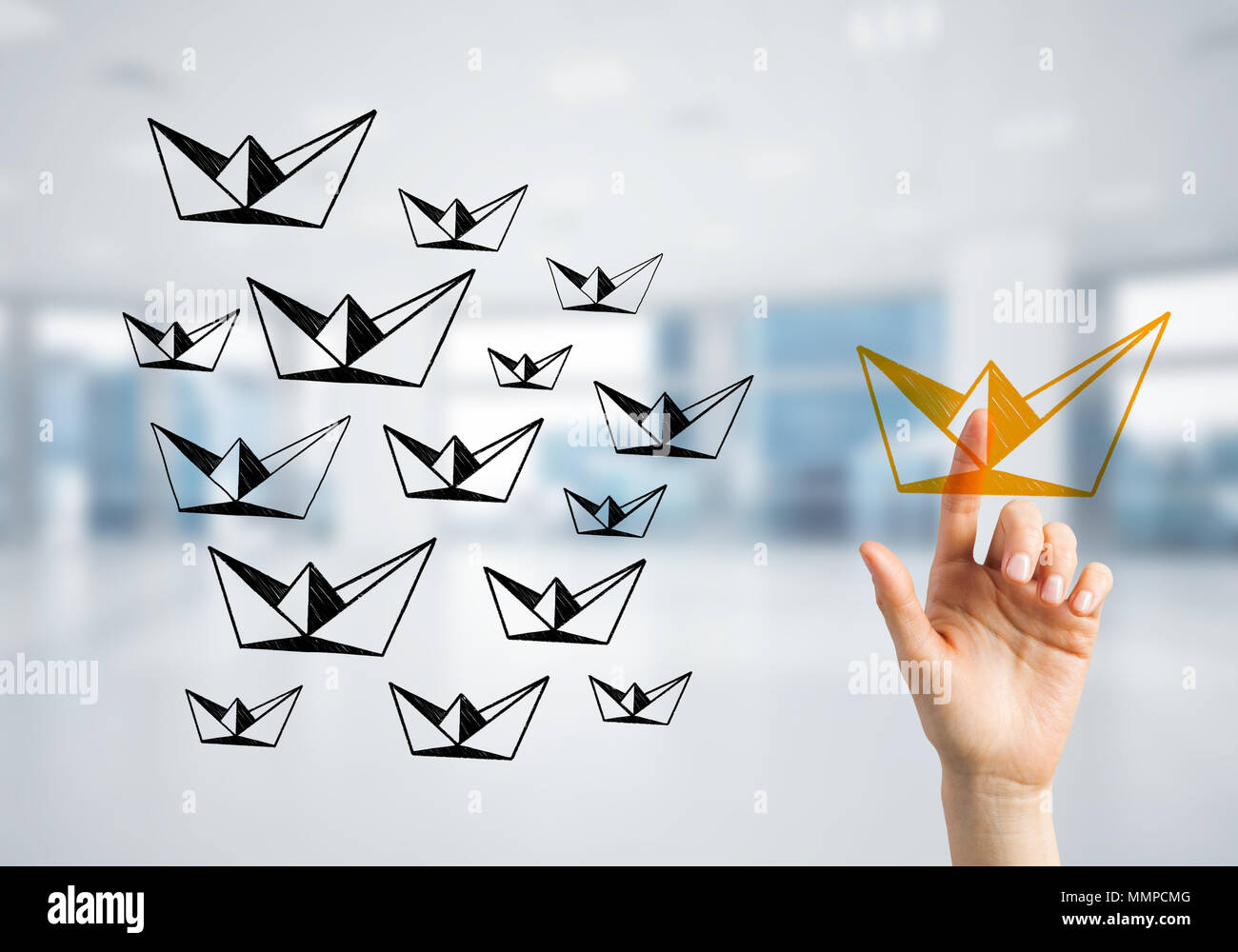 Concept of leadership and teamworking with many icons and one of them standing out - Stock Image