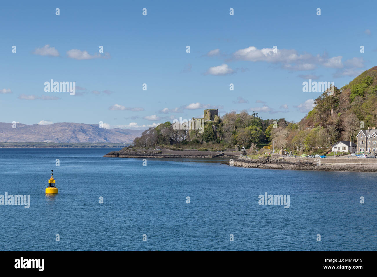 Dunollie Castle, a small ruined castle located on a hill north of the town of Oban in Argyll and Bute, western Scotland and gateway to the Hebrides - Stock Image
