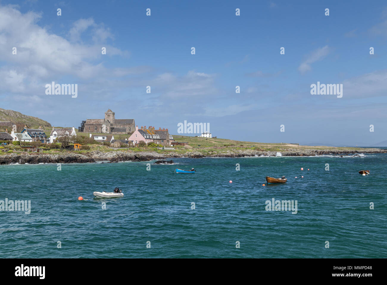 Baile Mòr on the Isle of Iona taken from the Calmac ferry en route from the Isle of Mull to Iona, Argyll and Bute on the Inner Hebrides, Scotland, UK - Stock Image