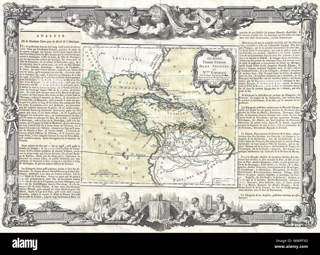 .  English: A stunning decorative 1766 map of Mexico, Central America and the West Indies by Louis Brion de la Tour. Covers from the Chesapeake Bay south to Peru and the Amazon but focuses on Mexico and the Caribbean region. Decorative baroque style title cartouche in the upper right quadrant of the map proper. Flanked on either side by a textual description of the region in French. Surrounded by a magnificent baroque border featuring cherubs engaged in the study of geography and mapmaking. Prepared by Louis Brion de la Tour and published by S.  Guayane, Terre Ferme, Isles Antilles, et Nlle. E - Stock Image