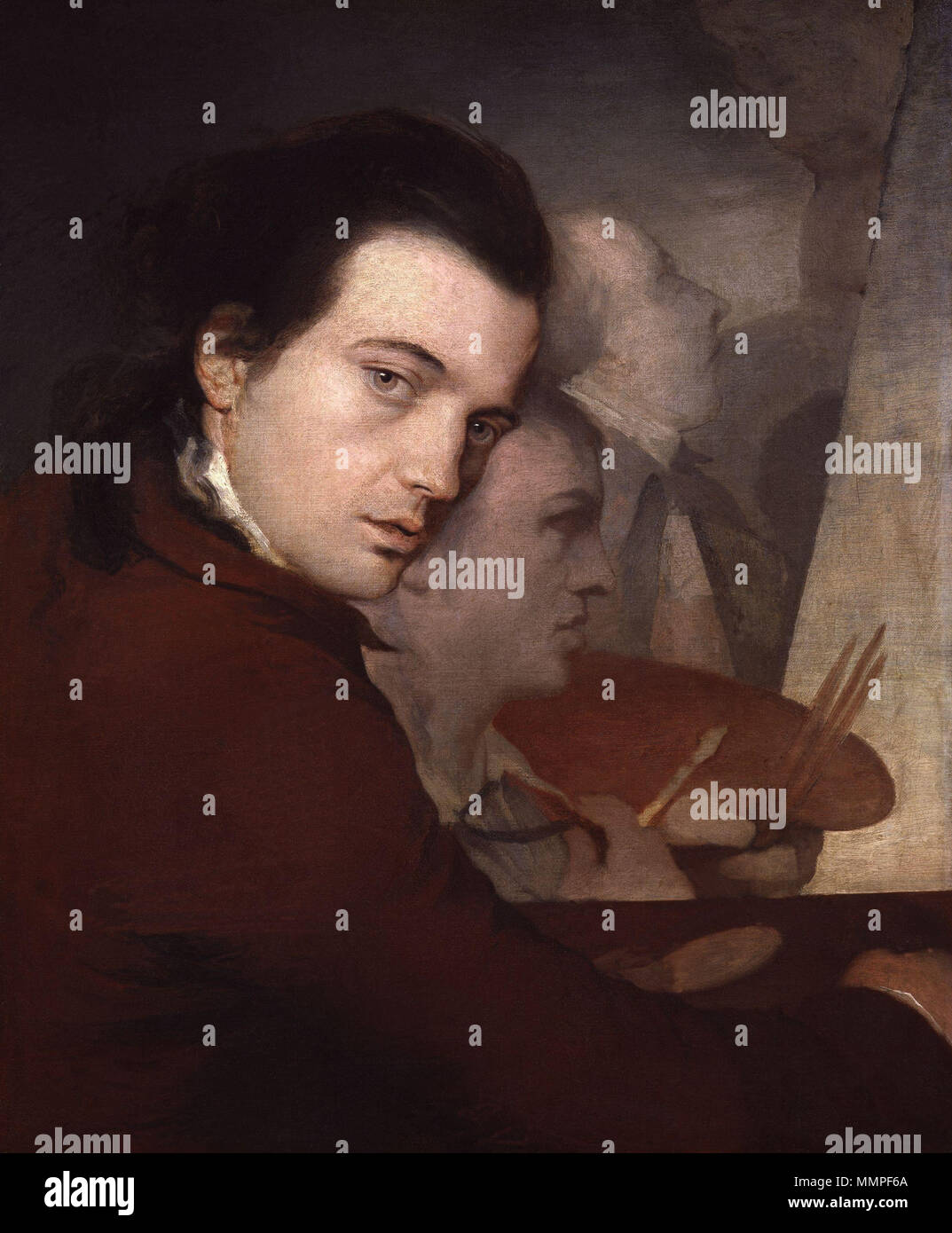 . Depicted people: James Barry, Dominique Lefevre and James Paine the Younger  Self-portrait. 1767. James Barry; Dominique Lefevre; James Paine the Younger by James Barry - Stock Image