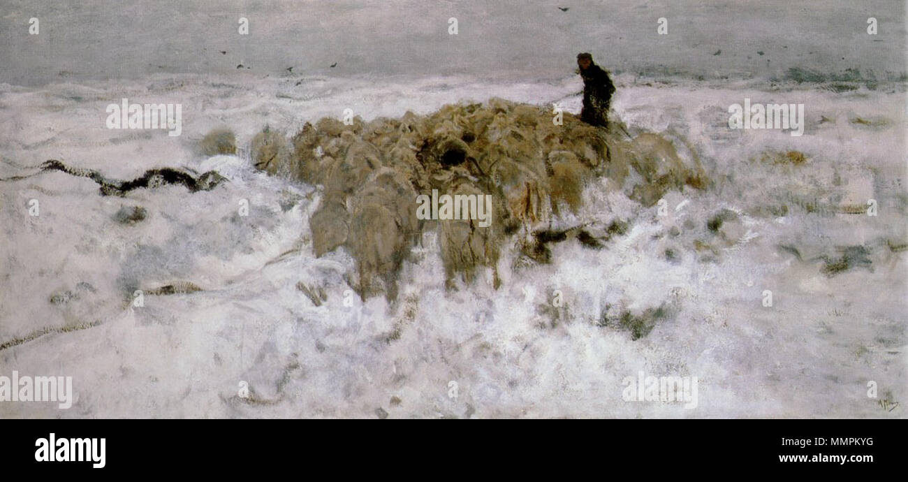 Flock Of Sheep With Shepherd In Snow Oil On Canvas, 90 Cm X 190 Cm ...