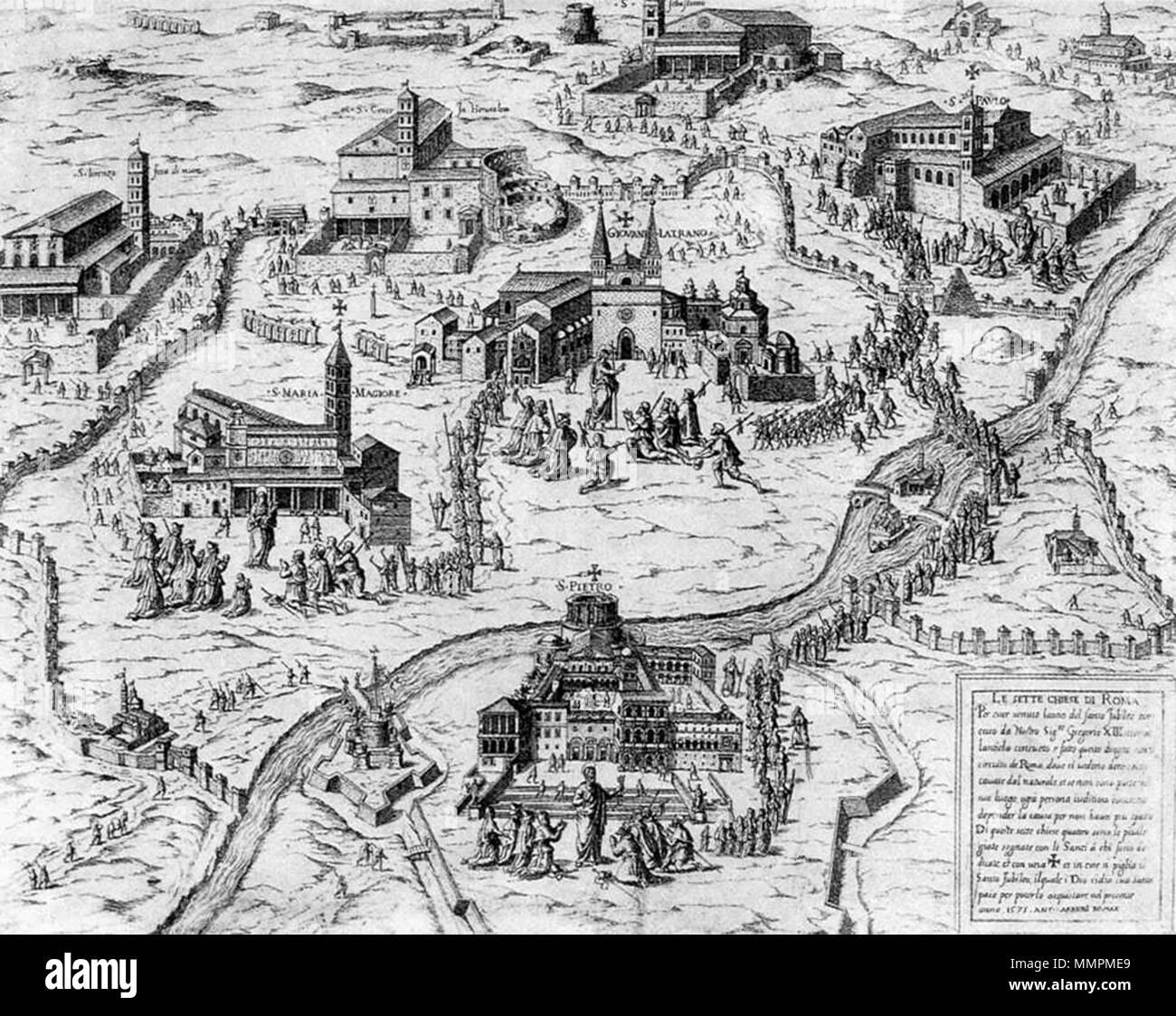 English: Pilgrims visiting the Seven Churches of Rome during the Holy Year  of 1575 . circa 1575. Antonio Lafreri - Pilgrims visiting the Seven  Churches of ...