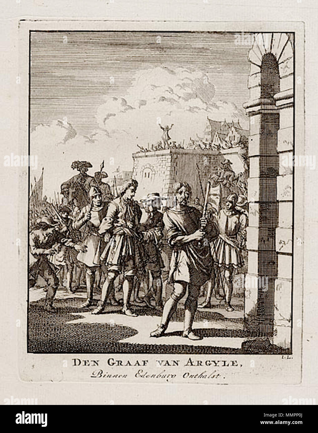 English Den Graaf Van Argyle Binnen Edenburo Onthalst Etching By