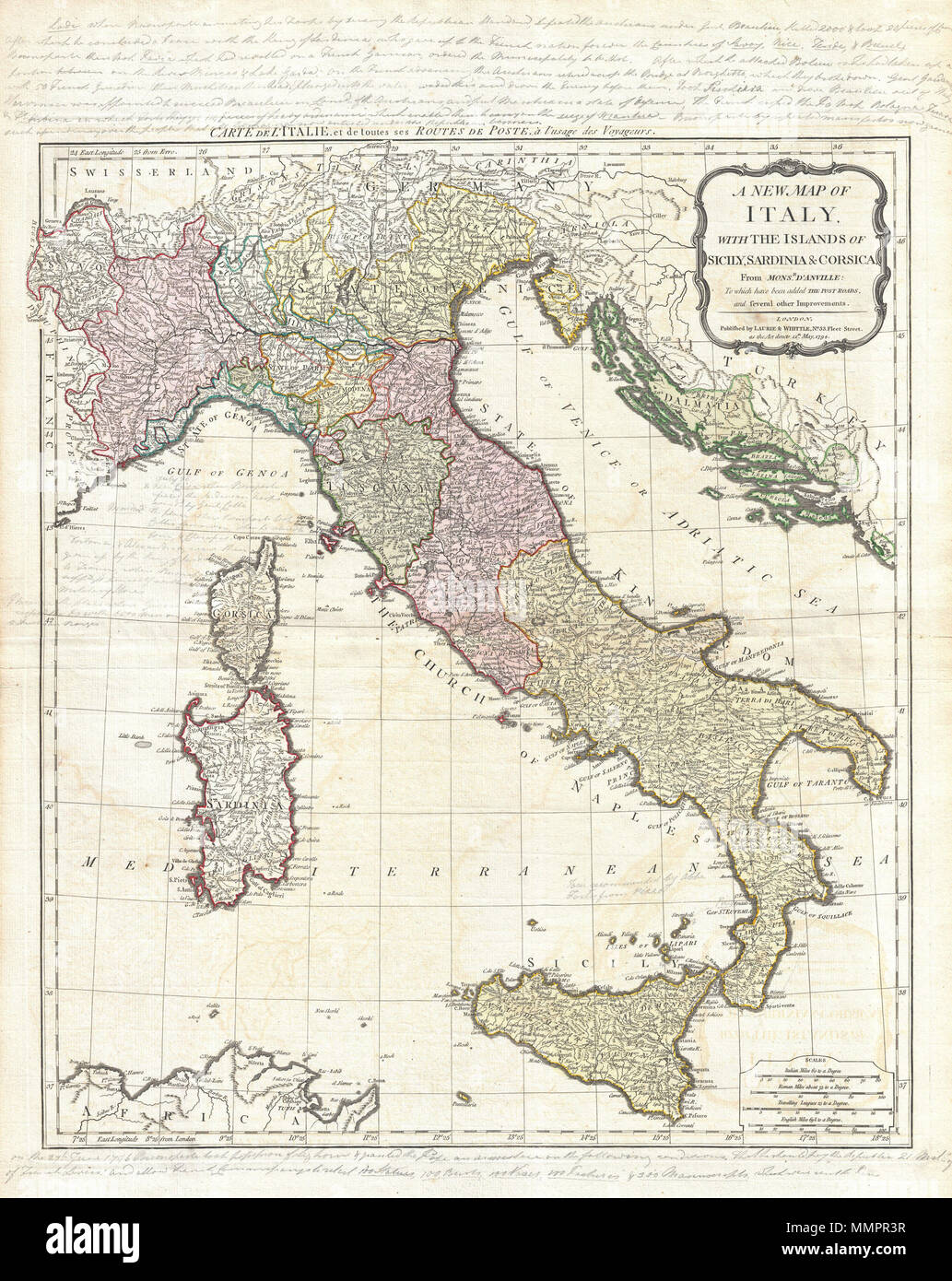 Map Of Italy With Towns.English An Rare And Beautiful 1794 Map Of Italy By J B B D