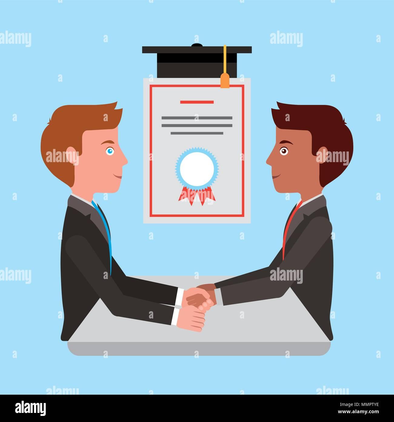 graduate students man handshake success cerfiticate vector illustration - Stock Image
