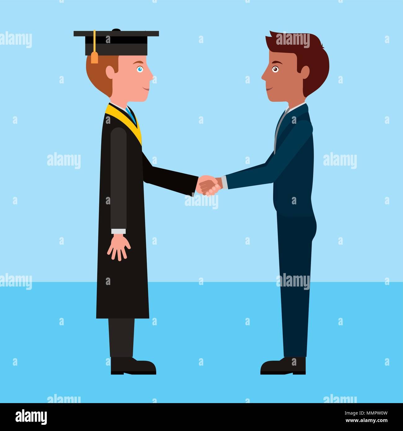 graduate student boy and teacher man handshake vector illustration - Stock Image