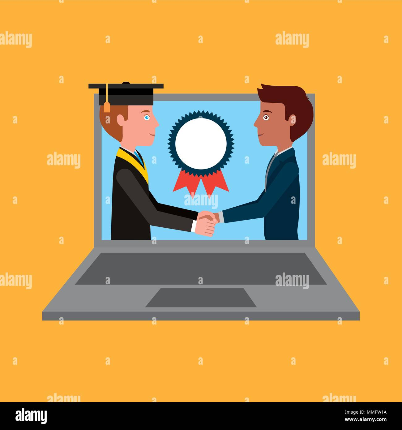 teacher and graduate student handshake on laptop learning vector illustration - Stock Image