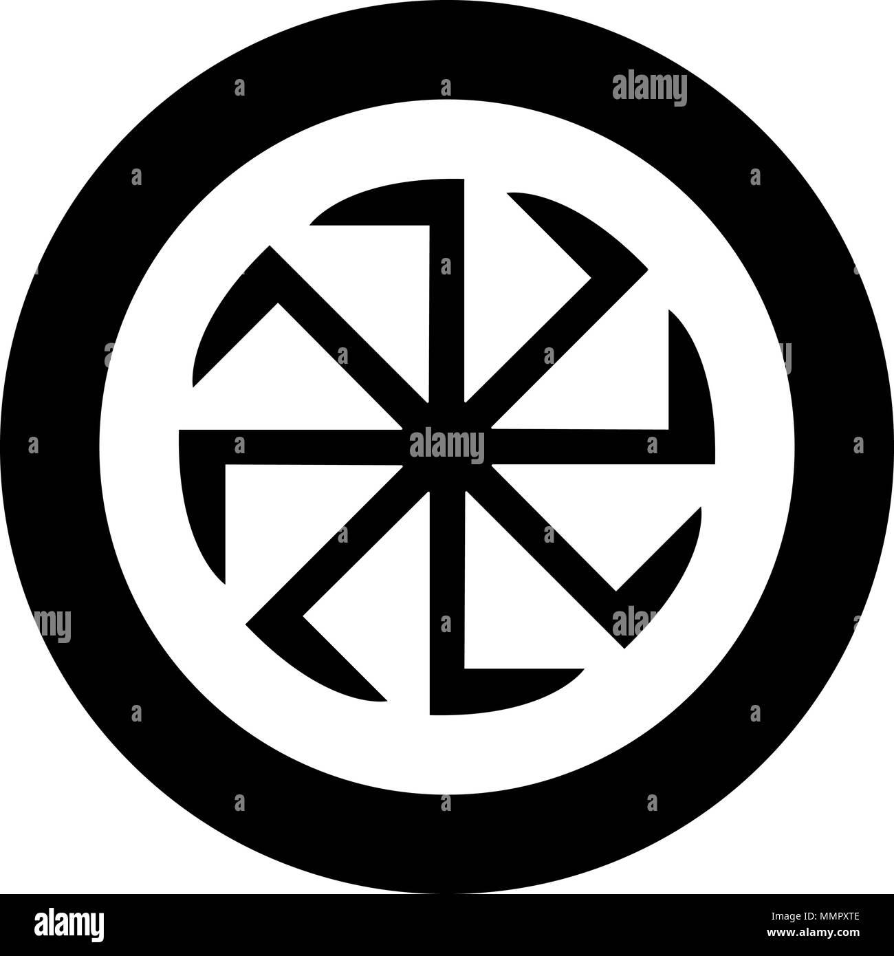 Slavic slavonis symbol Kolovrat sign sun icon black color vector illustration simple image flat style - Stock Image